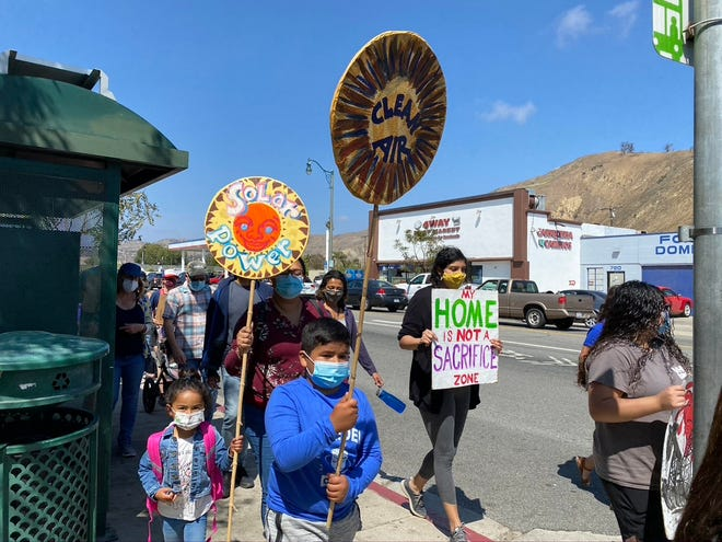 Organizers say 160 people protested a gas compressor site on Saturday, April 24 in Ventura.