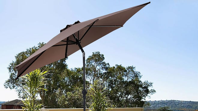 The easy operation and wide diameter make this Costway patio umbrella a shady addition to any backyard.