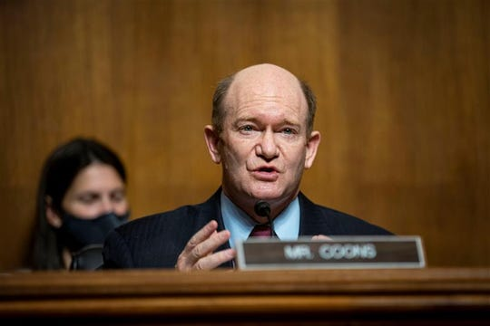 Sen. Chris Coons, D-Del., speaks during a  Judiciary Subcommittee hearing with policy executives from Facebook, YouTube, and Twitter about their use of algorithms on April 27, 2021.