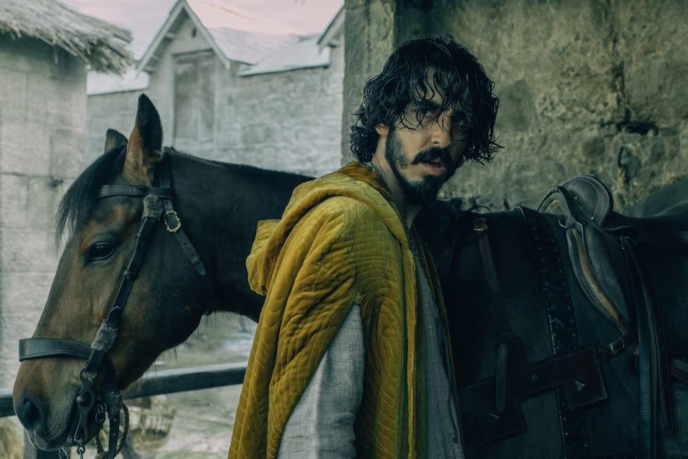 """Sir Gawain (Dev Patel), King Arthur's headstrong nephew, runs into ghosts, giants and thieves on his epic quest to confront the formidable, emerald-skinned title character of David Lowery's fantasy """"The Green Knight."""""""