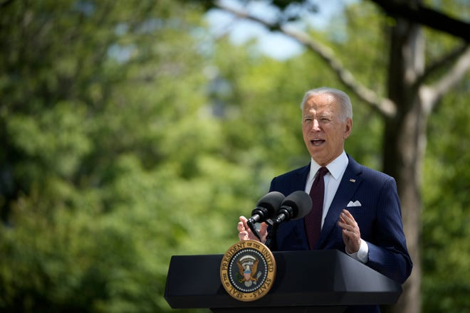WASHINGTON, DC - APRIL 27: U.S. President Joe Biden speaks about updated CDC mask guidance on the North Lawn of the White House on April 27, 2021 in Washington, DC.