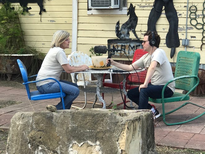 """Native Texan and current New Yorker Evan Stern crisscrossed the state to interview folks for his new podcast """"Vanishing Postcards."""" Here he chats with Mary Margaret Campbell, director of the Dobie Dichos festival in Live Oak County."""