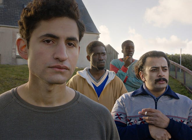 "The movie ""Limbo"" features, from left, Amir El-Masry as Omar, Ola Orebiyi as Wasef, Kwabena Ansah as Abedi and Vikash Bhai as Farhad."