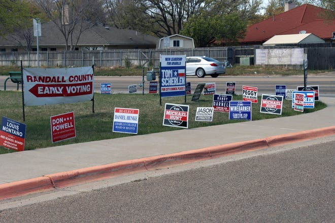 A cluster of campaign signs located outside a Randall County early voting location. Early voting ended for May's general election Tuesday.