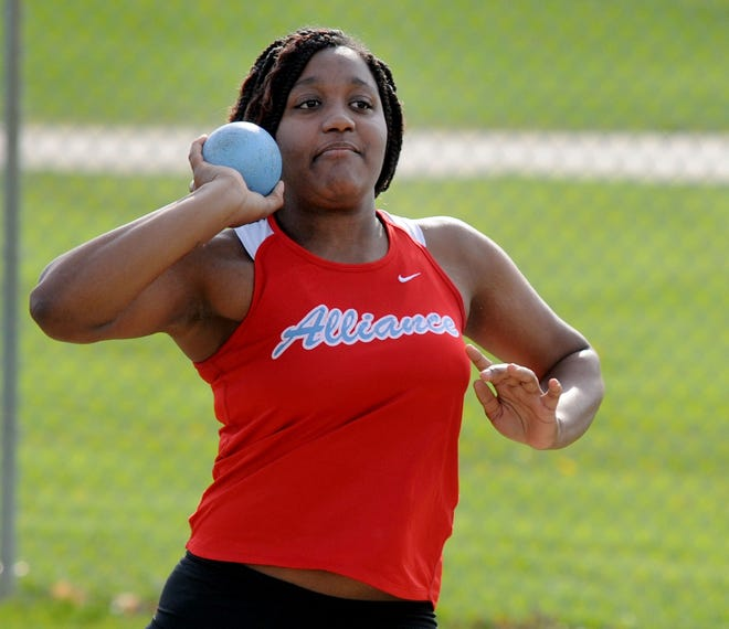 Alliance's Lakasja Edwards competes in the shot put during an Eastern Buckeye Conference dual meet against West Branch.