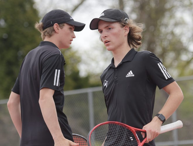 Quaker Valley's Thomas Pangburn and Will Sirianni compete against South Park during the Class AA doubles championship Wednesday, at North Allegheny High School.