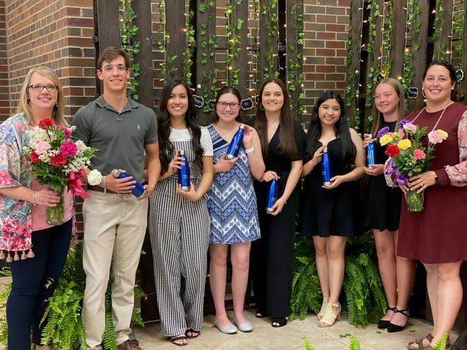 Graduating seniors were recognized for their commitment to the HOSA organization. (Left to right) Mrs. Scull (HOSA advisor), Ian Harris, Angela Romero, Sarah Reeves, Elbijana Thaqi, Leticia Cervantes, Hannah Netherland and HOSA adviser Annalyn Deen. Not pictured: Chesney Covey.