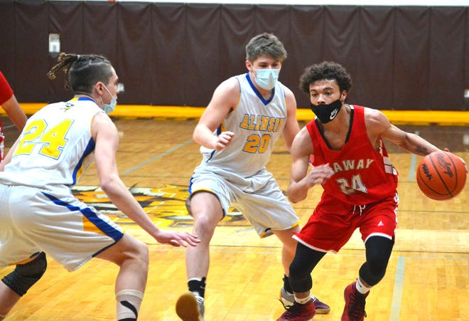 After a stellar senior season, Onaway guard Kevin Pearson (right) has been named the Cheboygan Daily Tribune's 2021 Boys Basketball Player of the Year. Pearson helped lead the Cardinals to a 13-4 record and a first district title since 2016.