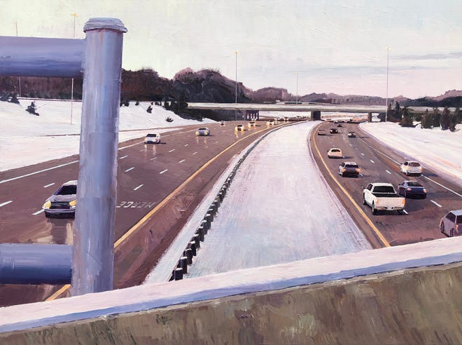 """Dusk in December, 270 Overpass,"" acrylic on canvas, by artist Cody Heichel"