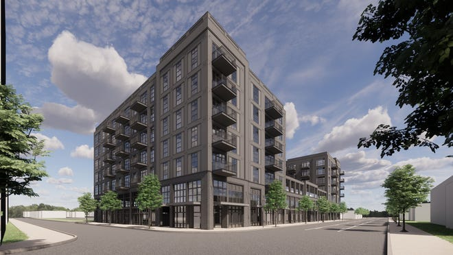 Work began Wednesday on the Crossline apartment complex, shown in this rendering, in Weinland Park.