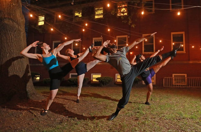 """Rehearsing for Xclaim Dance Company's new production """"Spirituals II"""" are, from left, Corrinne Wood, Anna Donsky, Shannon Filmore, and Dayja Patterson. """"Spirituals II"""" will be performed May 7-9."""