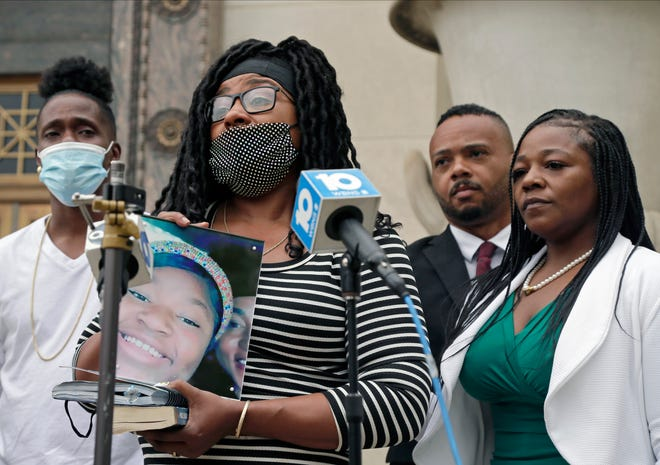 Ma'Khia Bryant's mother Paula Bryant speaks during a press conference outside Columbus City Hall on Wednesday, April 28, 2021. Attorney Michelle Martin, right, has been hired to represent the family of Ma'Khia Bryant, the 16-year-old girl shot and killed by a Columbus police officer April 20 during an incident outside her foster home.