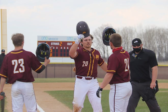 Brock Reller (center) and Mason Ruhlman (right) were named to the All-NSIC First Team this season.