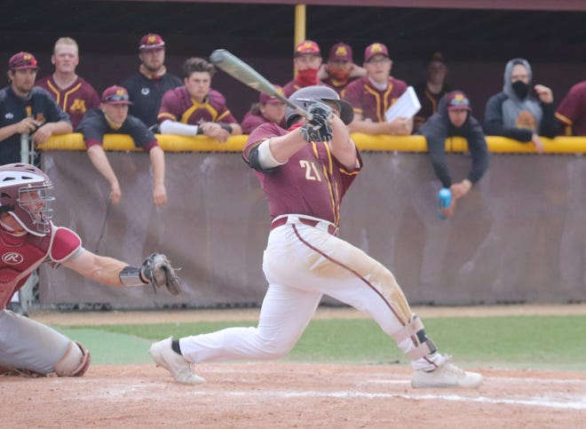Mason Ruhlman during a game against Northern State on April 28.