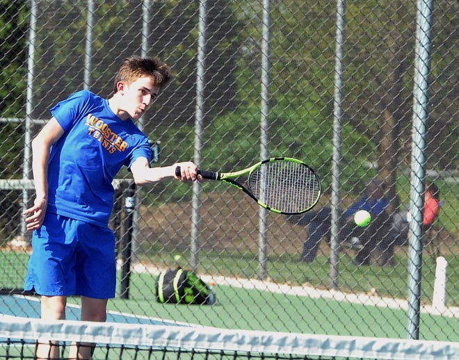 Wooster first singles Mark Wood on a forehand return.