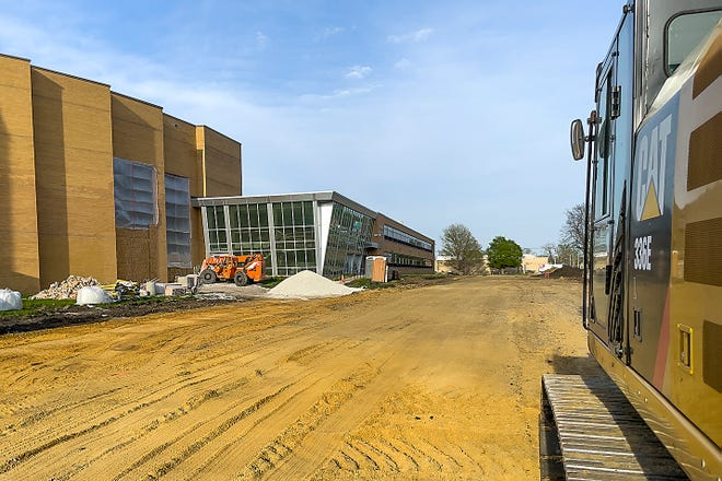 The outline of the new driveway in front of Galesburg High School is clearly visible on April 27, 2021.
