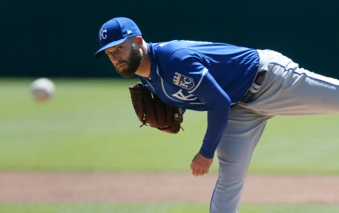 Kansas City Royals' Danny Duffy pitches against the Detroit Tigers during the first inning of Sunday in Detroit.