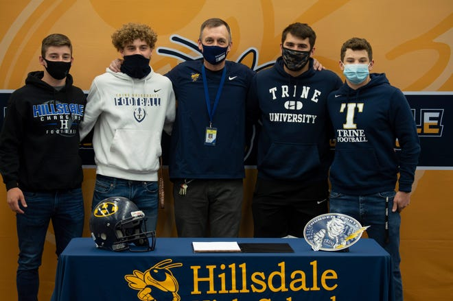 (From left to right) Hillsdale College commit Brock Woodard, Trine commit Luke Kornak, Head Coach Marc Lemerand, Trine commit Cody Sprunger, and Trine commit Logan Wagler