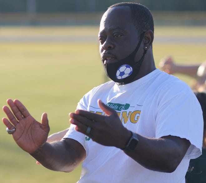 White Oak's Buddy Carroll earned his 300th career win as a girls soccer coach on Tuesday, a 1-0 victory over Swansboro.