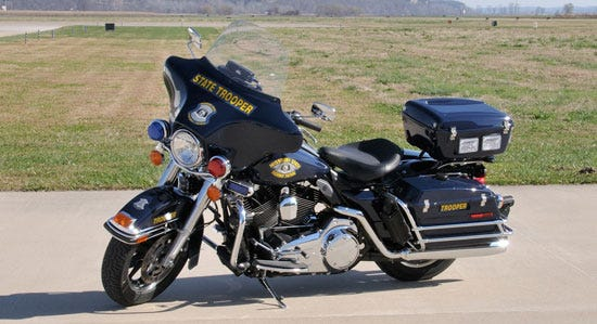 A Missouri State Highway Patrol motorcycle.