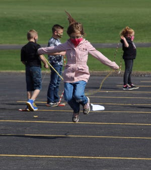 The American Heart Association's Kids Heart Challenge has Byron-Bergen Elementary School students learning different jump rope styles and techniques before facing off to see who could jump the longest.