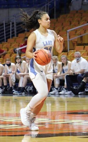 Frankfort's Marie Perdew brings the ball up the court at the state tournament on Tuesday. Despite the loss for Frankfort, Perdew led all scorers with 18 points.