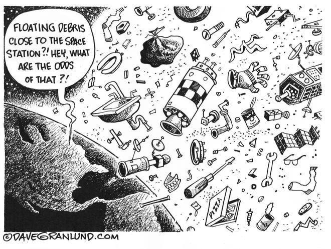 Dave Granlund cartoon on space debris danger