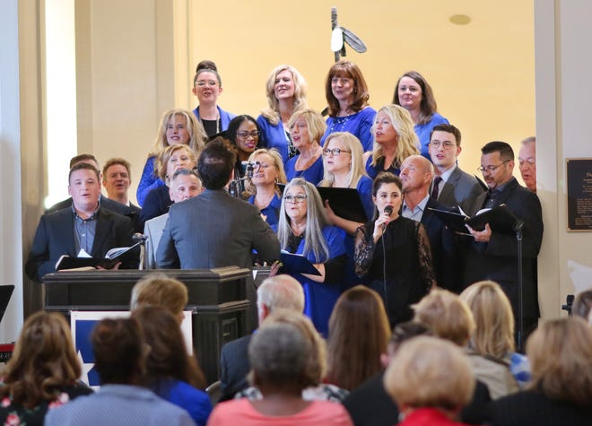 Voices of Crossings perform during the 2019 National Day of Prayer service at the state Capitol.