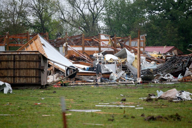 A tornado that touched down in Pauls Valley on April 27 damaged homes and other structures.