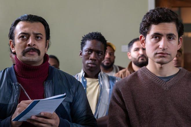 "Vikash Bhai (left) stars as Farhad and Amir El-Masry (right) stars as Omar in director Ben Sharrock's ""Limbo."""