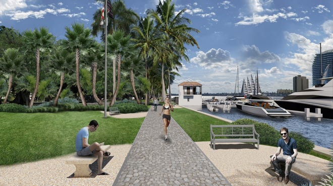 This artist's rendering shows some of the improvements planned in a $4.6 million redesign of Lake Drive Park. Plans also call for stone and wooden benches, dog fountains and parking lot resurfacing.