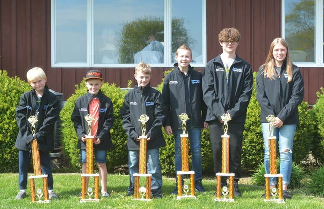 Champions at Bohmer's Rt.66 Raceway for 2020 were, from left, Charlie Harbeck (Baby Champs), Ethan Frye (Rookie), Blake Crebo (Jr.1), Chase Griffin (Jr.2), Jordan Walker (Jr.3), Raya Bohm (Clone 360). Absent were Joe Gillispie (Clone 400) and Sam Osborne (Predator).