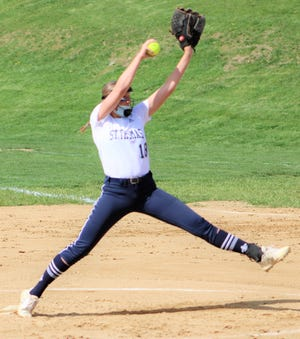 St. Thomas Aquinas pitcher Ashleigh von der Linden winds up during the second inning of Tuesday's Division III game against John Stark. von der Linden struck out 20 of 21 batters in Monday's no-hit, 3-0 win over the Generals.