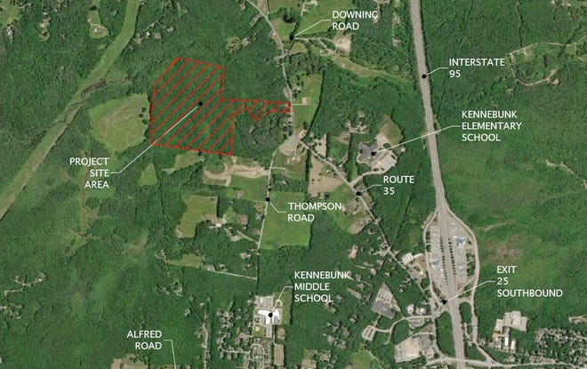 Alewive Woods Subdivision is a residential development proposed for the land marked in red in West Kennebunk, Maine, being considered by town officials.