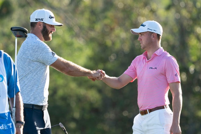 Dustin Johnson (left) and Justin Thomas (right), shown here in Maui in January, are the top two ranked golfers in the world but likely will not be the top two golfers in the Tour's new Impact Program. Kyle Terada-USA TODAY Sports