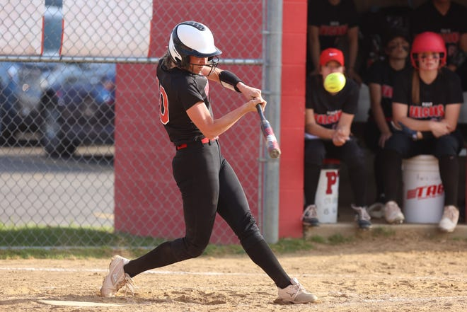 Field's Alexsa Hurd connects with the ball to send it over the left field fence for a solo home run.