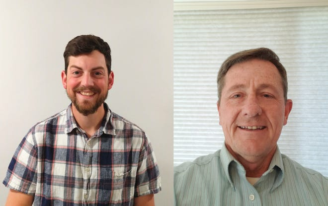 Caleb Clark, left, and Alan Laisure, right, are running for an open seat on Bethel School Board.