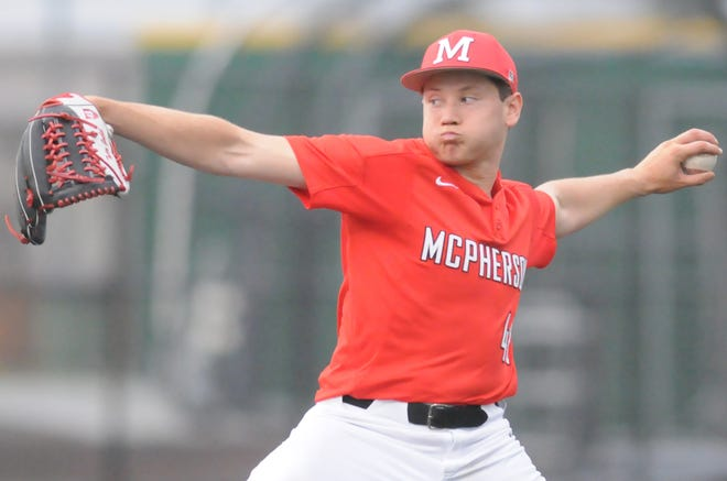 McPhersons's Tytin Goebel (48) throws a pitch in the fifth inning against Salina South in the triangular game at Dean Evans Stadium on Tuesday evening.