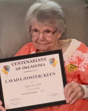 Seminole resident Lavada Keen was recently honored by the Centenarians of Oklahoma and inducted into the Centenarians of Oklahoma Hall of Fame after the celebration of her 105th birthday April 24. Keen celebrated her birthday with friends and members of six generations of her family. She is a poet who has had several poems published in The Shawnee News-Star, and she can still recite poems she learned in kindergarten.