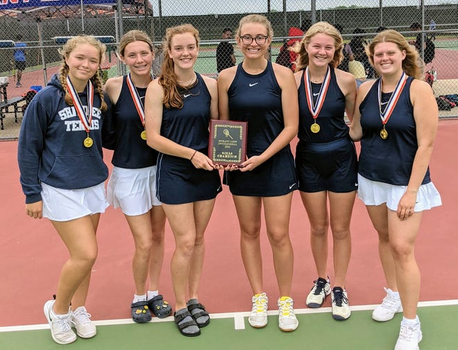 The Shawnee girls' tennis team poses after winning the Durant Tournament on Tuesday. Pictured from left to right are: Anna Jordan, Kylie Peters, Elise Diamond, Abigail Looper, Olivia Stobbe and Grace Bryant.