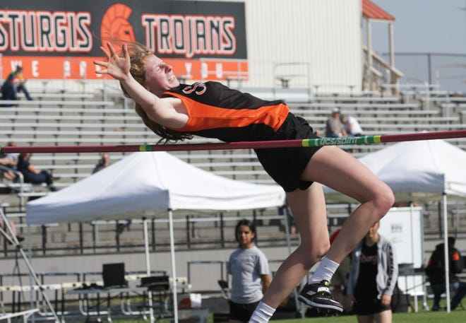 Korin Whitcomb of Sturgis won the high jump conference title on Saturday. Here, she is seen at a dual meet earlier this season in Sturgis.