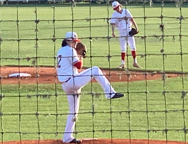 Santa Fe High pitcher Ryan Brown ready to set down Suwannee batters Tuesday in Alachua.