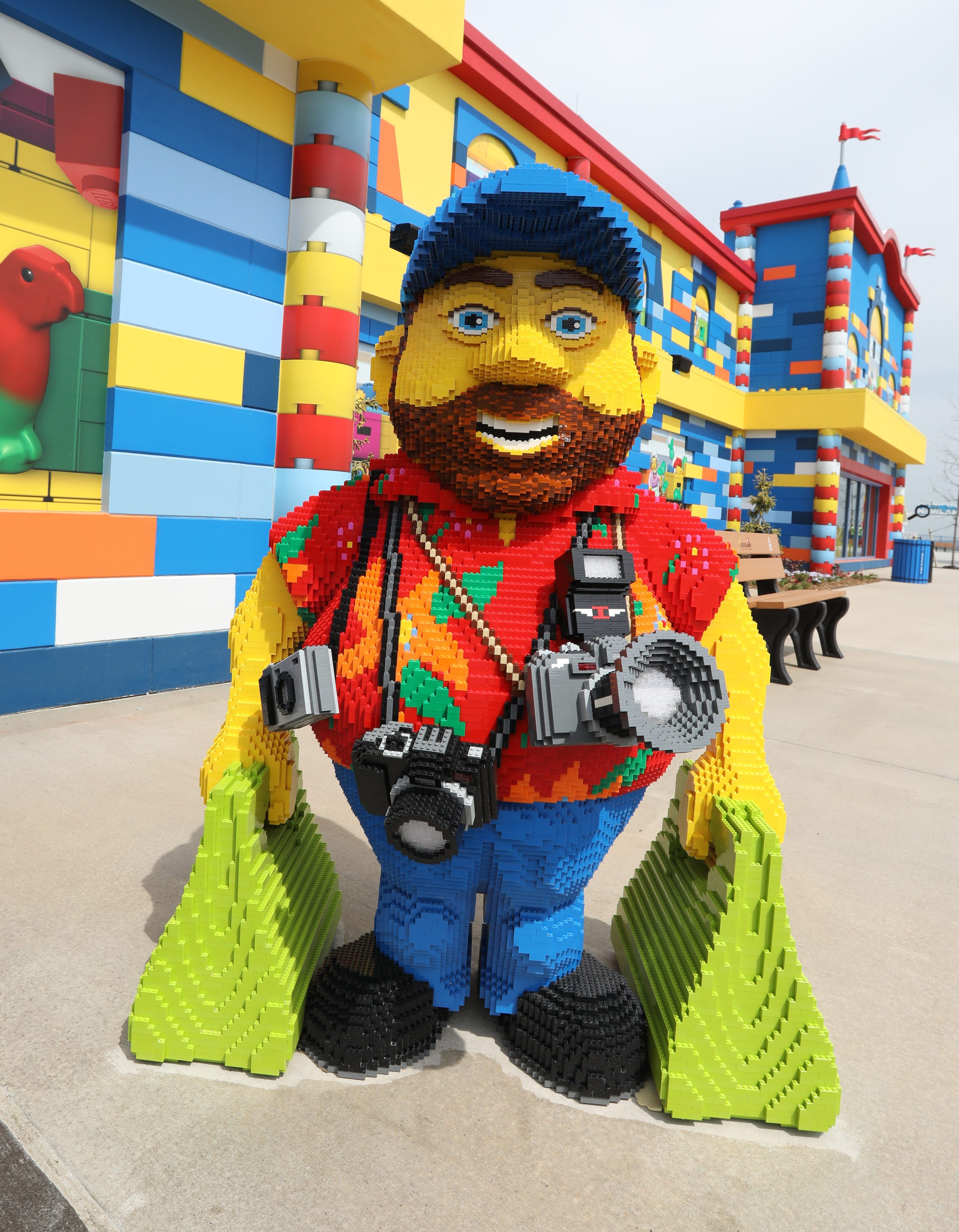 A statue of a tourist at Legoland New York.