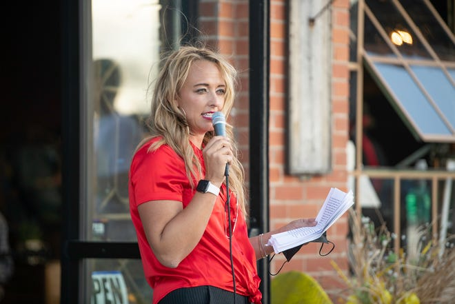 Heather Graham speaks at her city council campaign kickoff event held at Renewed Wholesale in Pueblo on Tuesday April 27, 2021.