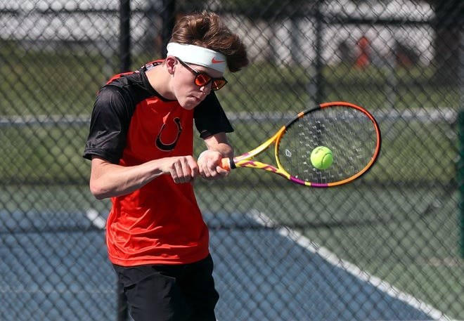 """Ryder Kardas has been one of the top players for the Delaware Hayes boys tennis team, which was 7-5 before facing Marion Pleasanton April 28. """"I think we're doing better than a lot of people expected us to do,"""" coach Gary Hibinger said."""