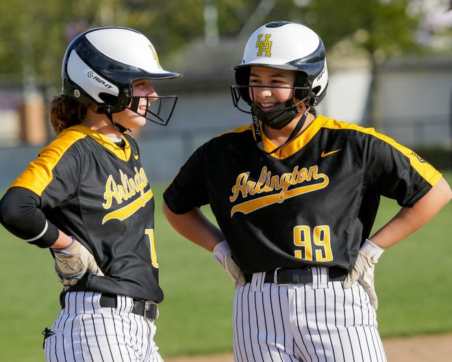 Caroline Langmeyer (left) and Maxine McCraw have been a 1-2 punch for Upper Arlington in the circle and at the plate. They have sparked the Golden Bears to records of 17-3 overall and 6-0 in the OCC-Central before playing Olentangy Liberty on April 30.