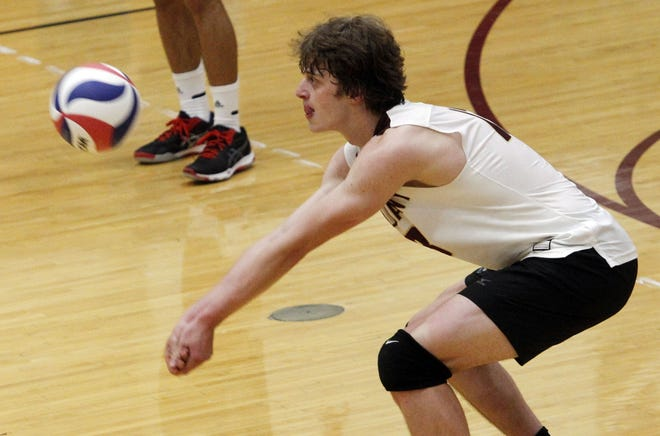 Senior Hayden Gray has led New Albany this season despite switching to outside hitter from middle hitter. His 9.0 kills and 9.0 digs per match paced the Eagles to records of 13-3 overall and 7-2 in the OCC-Ohio before an April 29 match against Westerville South.