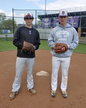 Seniors Aiden Cannon (left) and Connor Huzicka have been two of the DeSales baseball team's top players this season. The longtime friends played youth baseball together in Gahanna and joined the Stallions' varsity team as sophomores.
