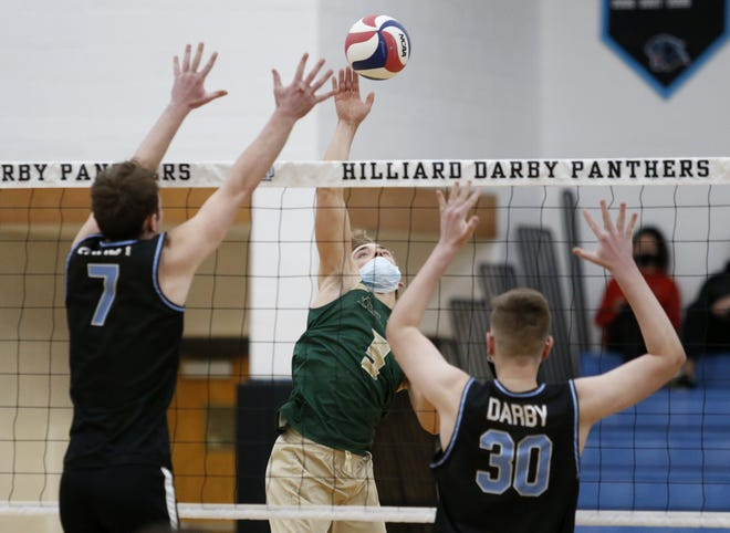 Tyler Nutting (center) and Jerome won the Battle of Dublin for the third consecutive time by defeating Scioto 25-15, 25-20 and host Coffman 25-23, 25-20 on April 23.