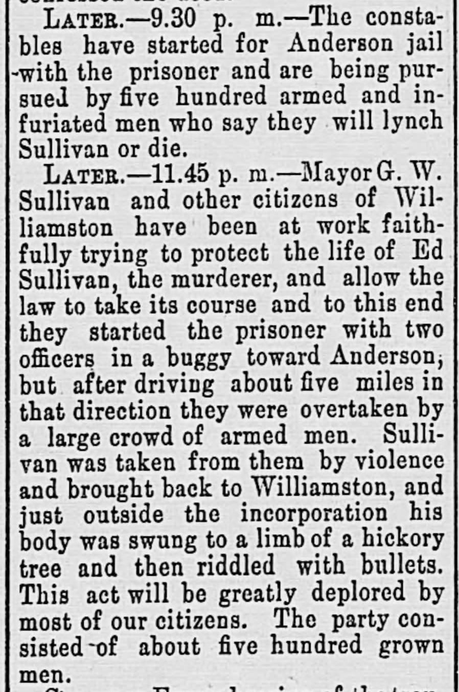 Newspaper article on Edward Sullivan's murder in the Dec. 19, 1894 issue of The Abbeville Press and Banner.